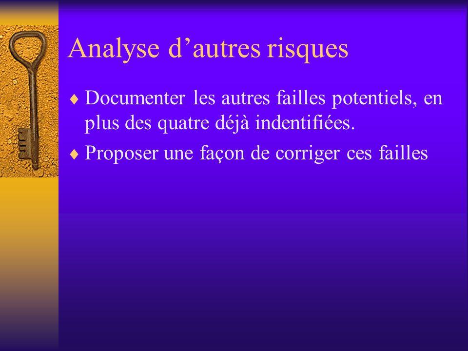 Analyse dautres risques Documenter les autres failles potentiels, en plus des quatre déjà indentifiées.