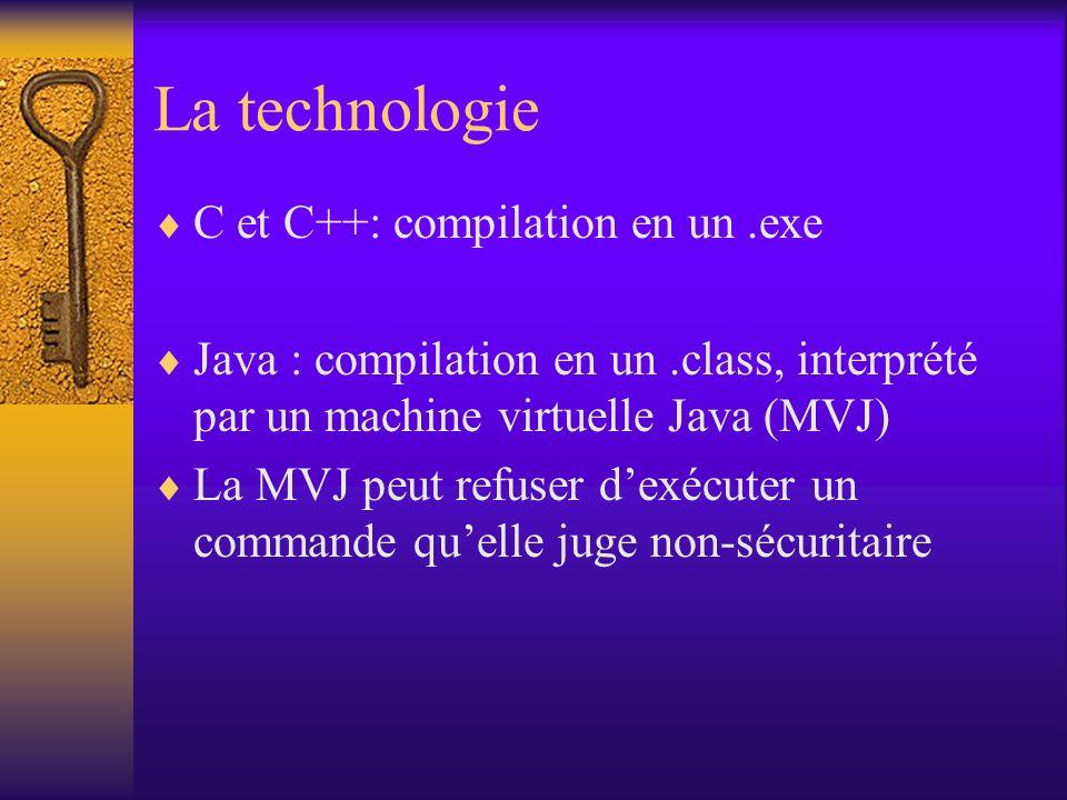 La technologie C et C++: compilation en un.exe Java : compilation en un.class, interprété par un machine virtuelle Java (MVJ) La MVJ peut refuser dexécuter un commande quelle juge non-sécuritaire