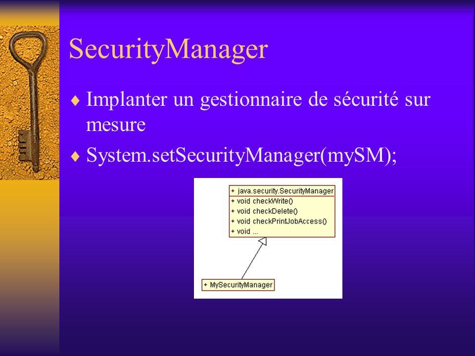 SecurityManager Implanter un gestionnaire de sécurité sur mesure System.setSecurityManager(mySM);