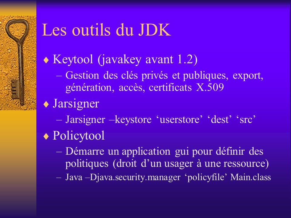 Les outils du JDK Keytool (javakey avant 1.2) –Gestion des clés privés et publiques, export, génération, accès, certificats X.509 Jarsigner –Jarsigner –keystore userstore dest src Policytool –Démarre un application gui pour définir des politiques (droit dun usager à une ressource) –Java –Djava.security.manager policyfile Main.class