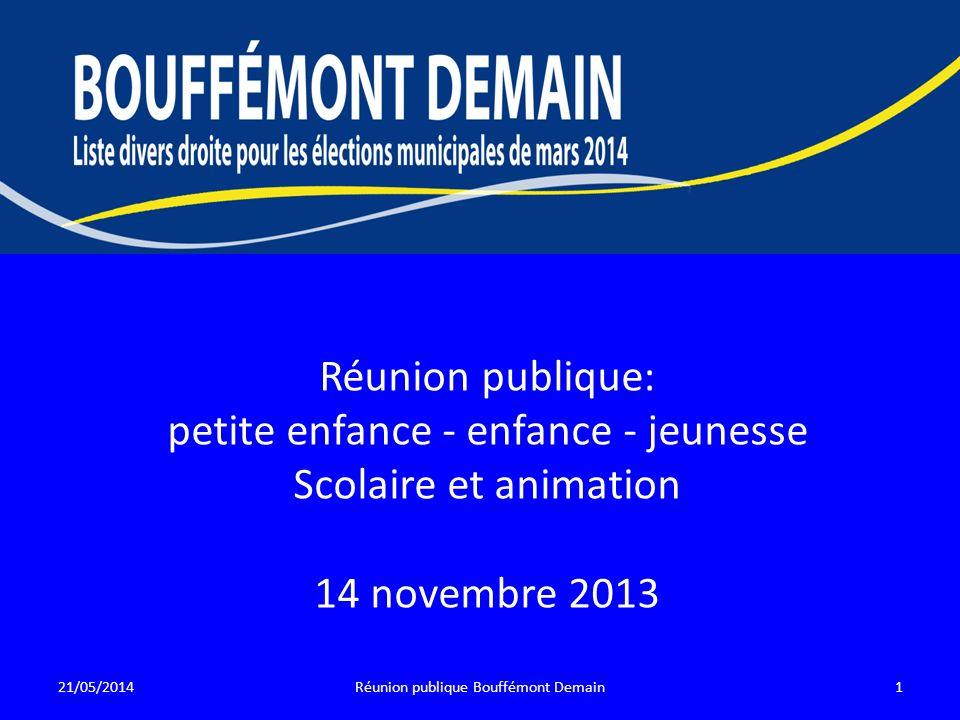 Réunion publique: petite enfance - enfance - jeunesse Scolaire et animation 14 novembre 2013 21/05/20141Réunion publique Bouffémont Demain