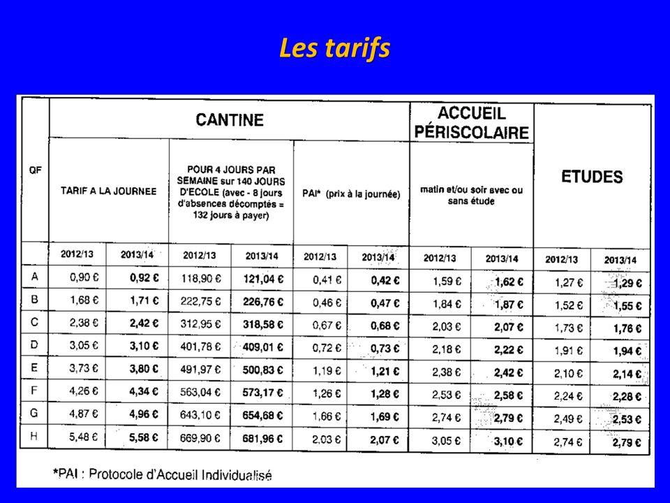 Les tarifs 21/05/201411Réunion publique Bouffémont Demain