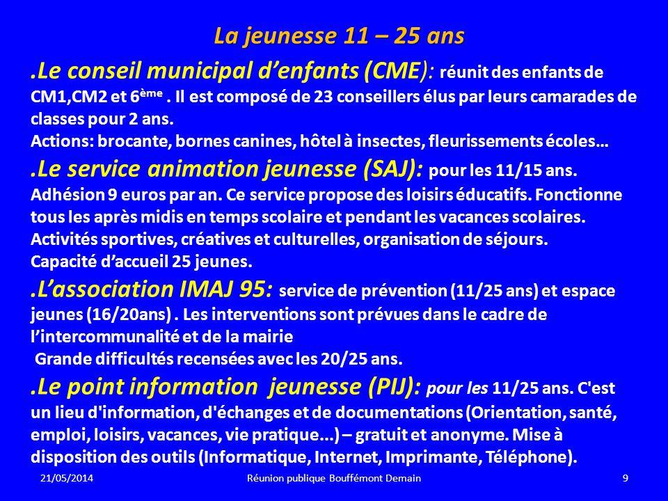 La jeunesse 11 – 25 ans.Le conseil municipal denfants (CME): réunit des enfants de CM1,CM2 et 6 ème.