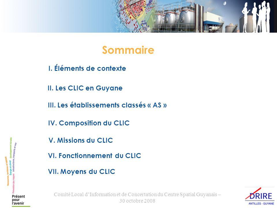 Comité Local dInformation et de Concertation du Centre Spatial Guyanais – 30 octobre 2008 I. Éléments de contexte II. Les CLIC en Guyane IV. Compositi