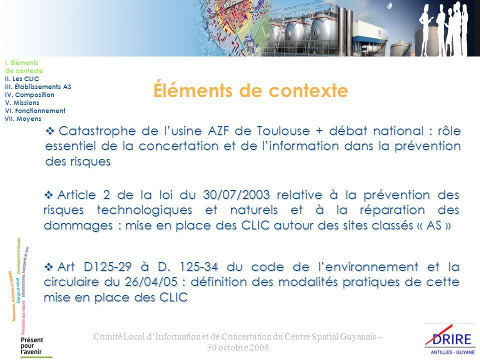 Comité Local dInformation et de Concertation du Centre Spatial Guyanais – 30 octobre 2008 Éléments de contexte Catastrophe de lusine AZF de Toulouse +