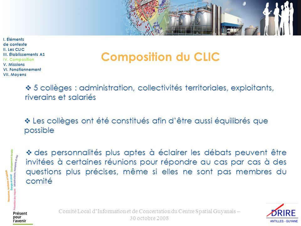 Comité Local dInformation et de Concertation du Centre Spatial Guyanais – 30 octobre 2008 Composition du CLIC 5 collèges : administration, collectivit