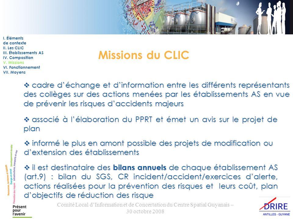 Comité Local dInformation et de Concertation du Centre Spatial Guyanais – 30 octobre 2008 Missions du CLIC cadre déchange et dinformation entre les di