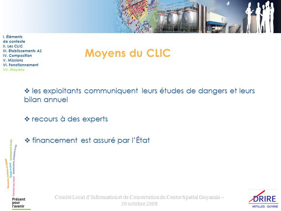 Comité Local dInformation et de Concertation du Centre Spatial Guyanais – 30 octobre 2008 Moyens du CLIC les exploitants communiquent leurs études de