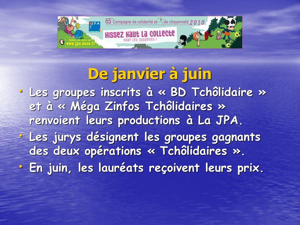 De janvier à juin Les groupes inscrits à « BD Tchôlidaire » et à « Méga Zinfos Tchôlidaires » renvoient leurs productions à La JPA. Les jurys désignen