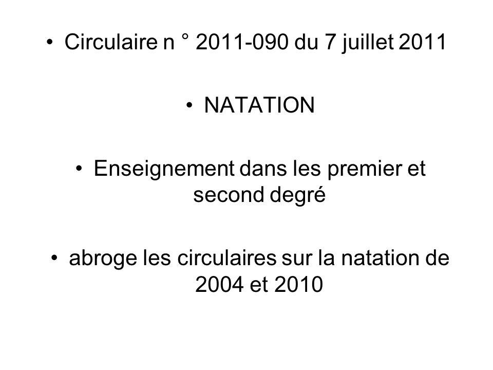 Circulaire n ° 2011-090 du 7 juillet 2011 NATATION Enseignement dans les premier et second degré abroge les circulaires sur la natation de 2004 et 201