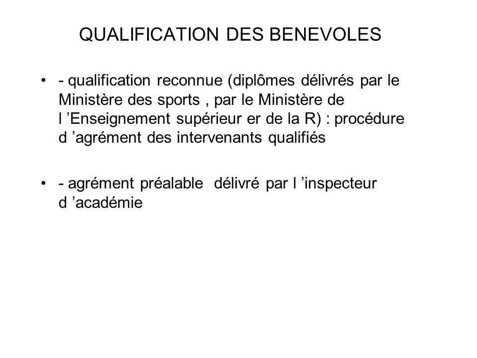 QUALIFICATION DES BENEVOLES - qualification reconnue (diplômes délivrés par le Ministère des sports, par le Ministère de l Enseignement supérieur er d