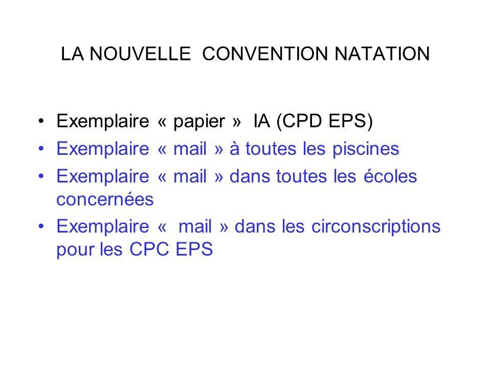 LA NOUVELLE CONVENTION NATATION Exemplaire « papier » IA (CPD EPS) Exemplaire « mail » à toutes les piscines Exemplaire « mail » dans toutes les école