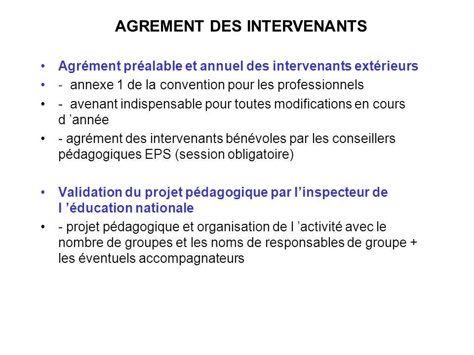 AGREMENT DES INTERVENANTS Agrément préalable et annuel des intervenants extérieurs - annexe 1 de la convention pour les professionnels - avenant indis