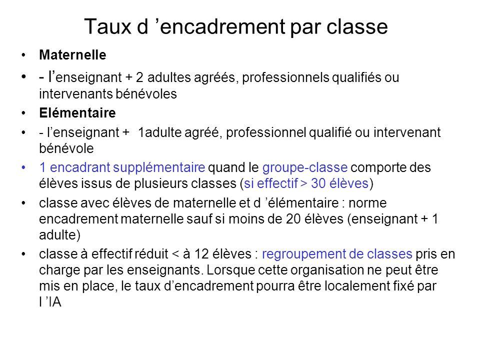 Taux d encadrement par classe Maternelle - l enseignant + 2 adultes agréés, professionnels qualifiés ou intervenants bénévoles Elémentaire - lenseigna