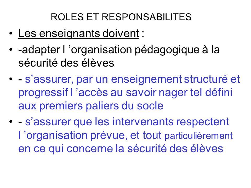 ROLES ET RESPONSABILITES Les enseignants doivent : -adapter l organisation pédagogique à la sécurité des élèves - sassurer, par un enseignement struct