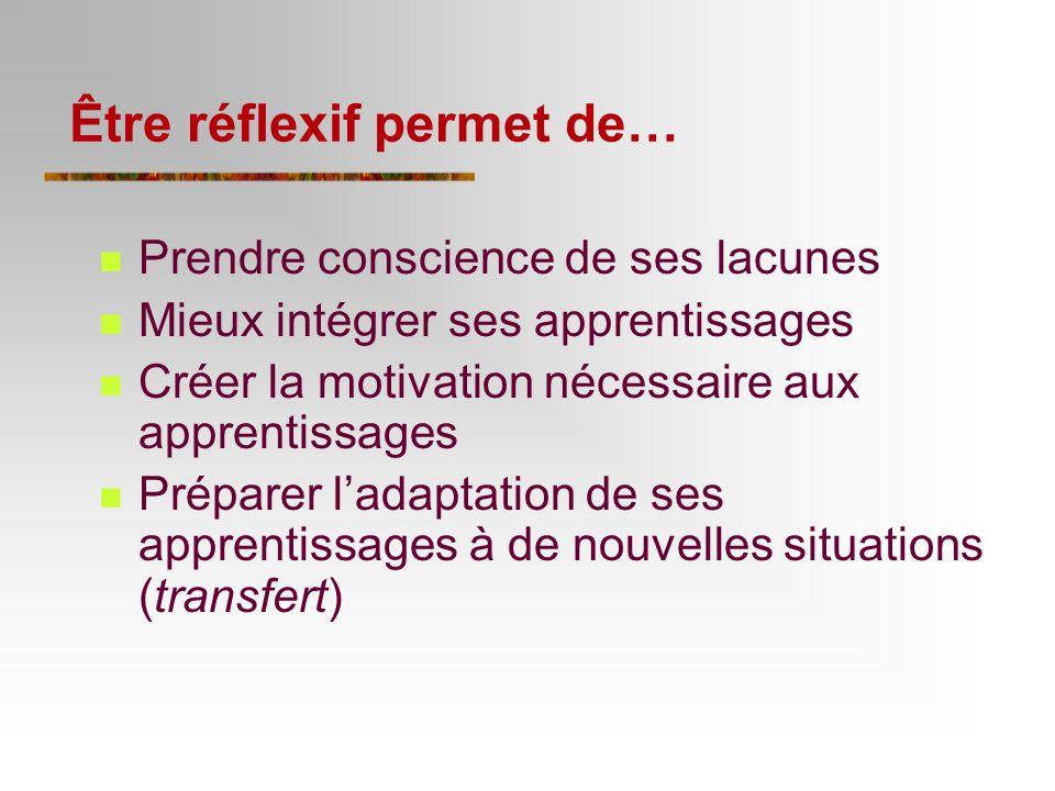 La réflexivité cest… Réfléchir sur lutilité de ses apprentissages et sa façon dapprendre (objectivation) Se questionner lors de lexécution dune tâche (métacognition)
