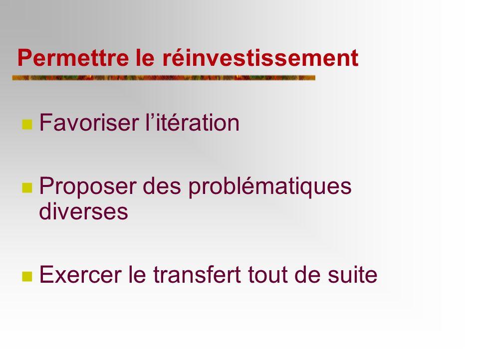 6e principe : Permettre le réinvestissement