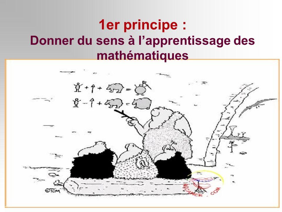 1er principe : Donner du sens à lapprentissage des mathématiques