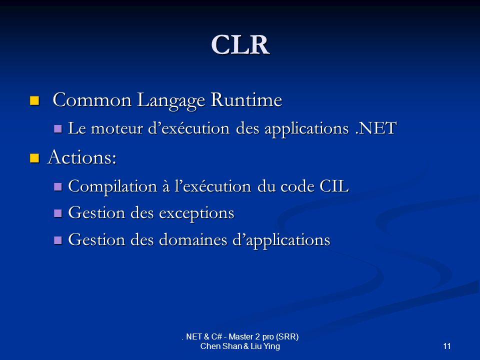 11. NET & C# - Master 2 pro (SRR) Chen Shan & Liu Ying CLR Common Langage Runtime Common Langage Runtime Le moteur dexécution des applications.NET Le