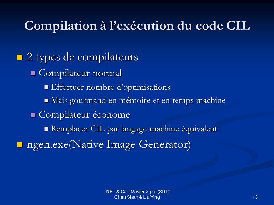 13. NET & C# - Master 2 pro (SRR) Chen Shan & Liu Ying Compilation à lexécution du code CIL 2 types de compilateurs 2 types de compilateurs Compilateu