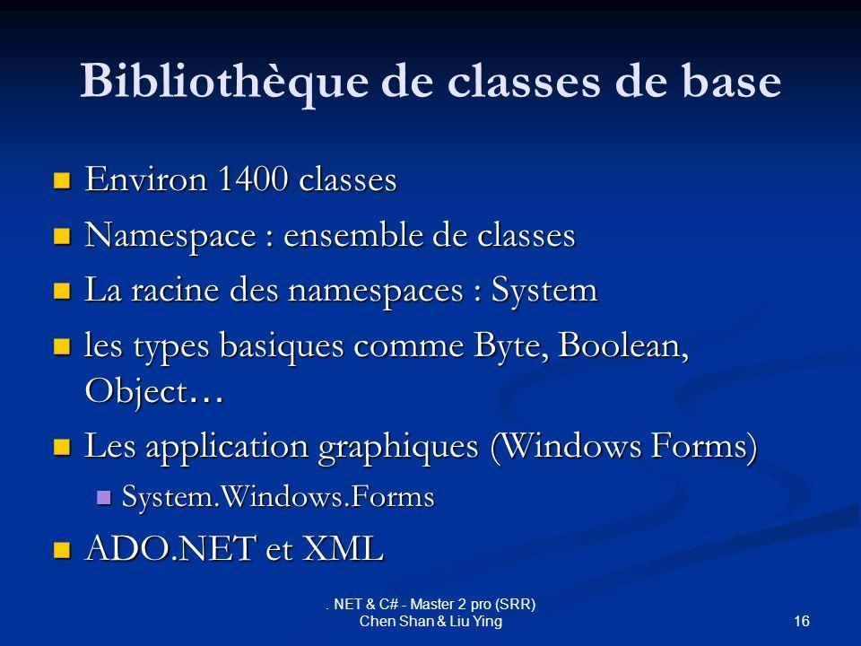 16. NET & C# - Master 2 pro (SRR) Chen Shan & Liu Ying Bibliothèque de classes de base Environ 1400 classes Environ 1400 classes Namespace : ensemble