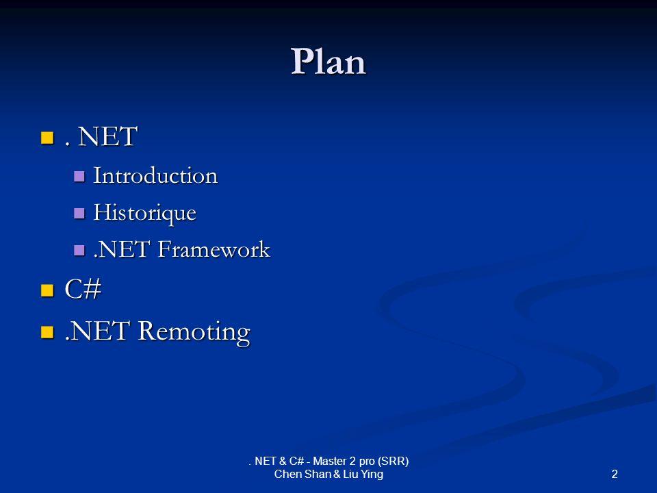 2. NET & C# - Master 2 pro (SRR) Chen Shan & Liu Ying Plan. NET. NET Introduction Introduction Historique Historique.NET Framework.NET Framework C# C#