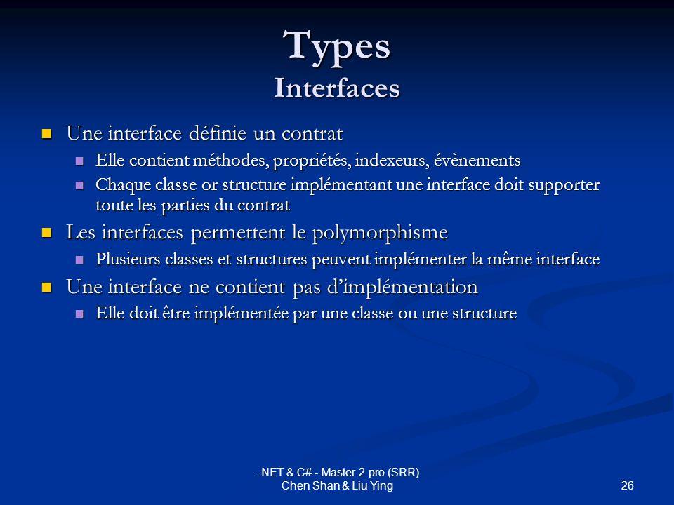 26. NET & C# - Master 2 pro (SRR) Chen Shan & Liu Ying Types Interfaces Une interface définie un contrat Une interface définie un contrat Elle contien