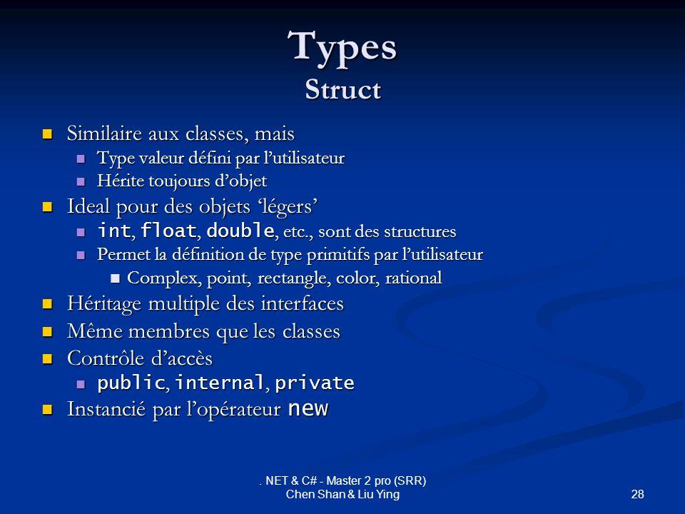 28. NET & C# - Master 2 pro (SRR) Chen Shan & Liu Ying Types Struct Similaire aux classes, mais Similaire aux classes, mais Type valeur défini par lut