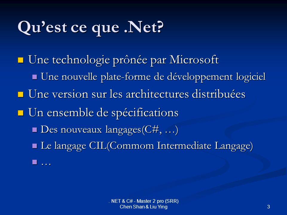 3. NET & C# - Master 2 pro (SRR) Chen Shan & Liu Ying Quest ce que.Net? Une technologie prônée par Microsoft Une technologie prônée par Microsoft Une
