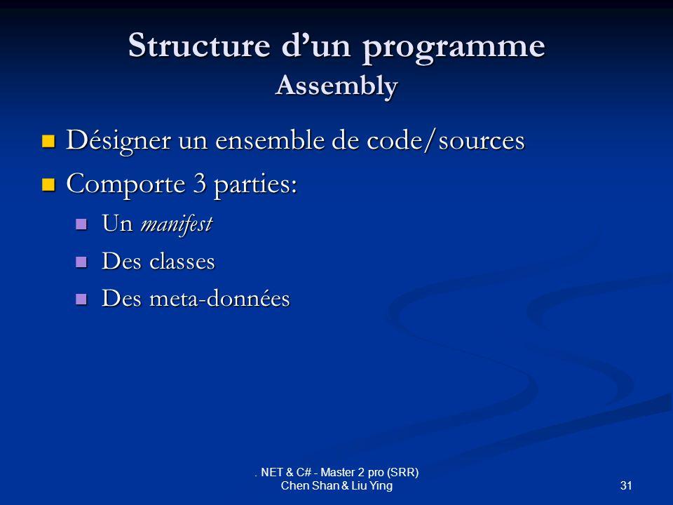 31. NET & C# - Master 2 pro (SRR) Chen Shan & Liu Ying Structure dun programme Assembly Désigner un ensemble de code/sources Désigner un ensemble de c