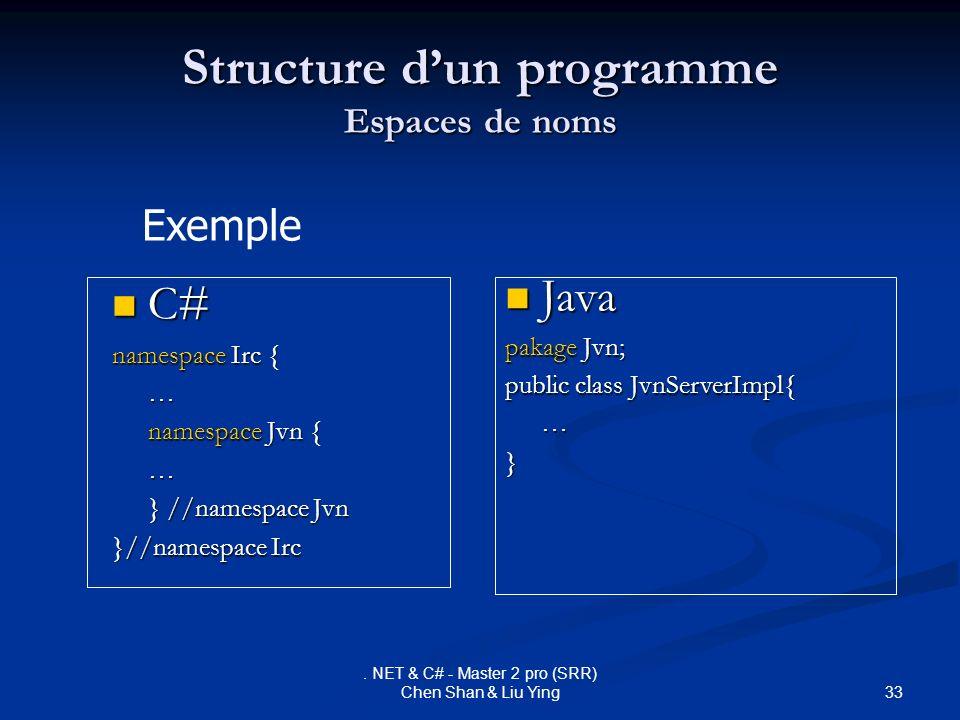 33. NET & C# - Master 2 pro (SRR) Chen Shan & Liu Ying Structure dun programme Espaces de noms Java Java pakage Jvn; public class JvnServerImpl{ …} C#