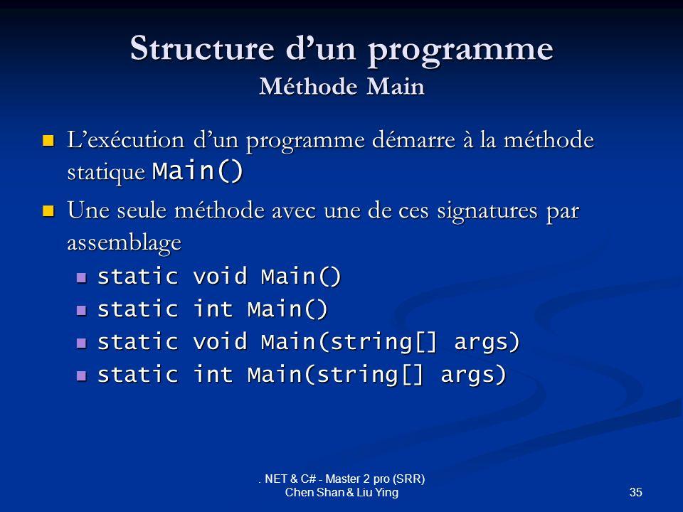 35. NET & C# - Master 2 pro (SRR) Chen Shan & Liu Ying Structure dun programme Méthode Main Lexécution dun programme démarre à la méthode statique Mai