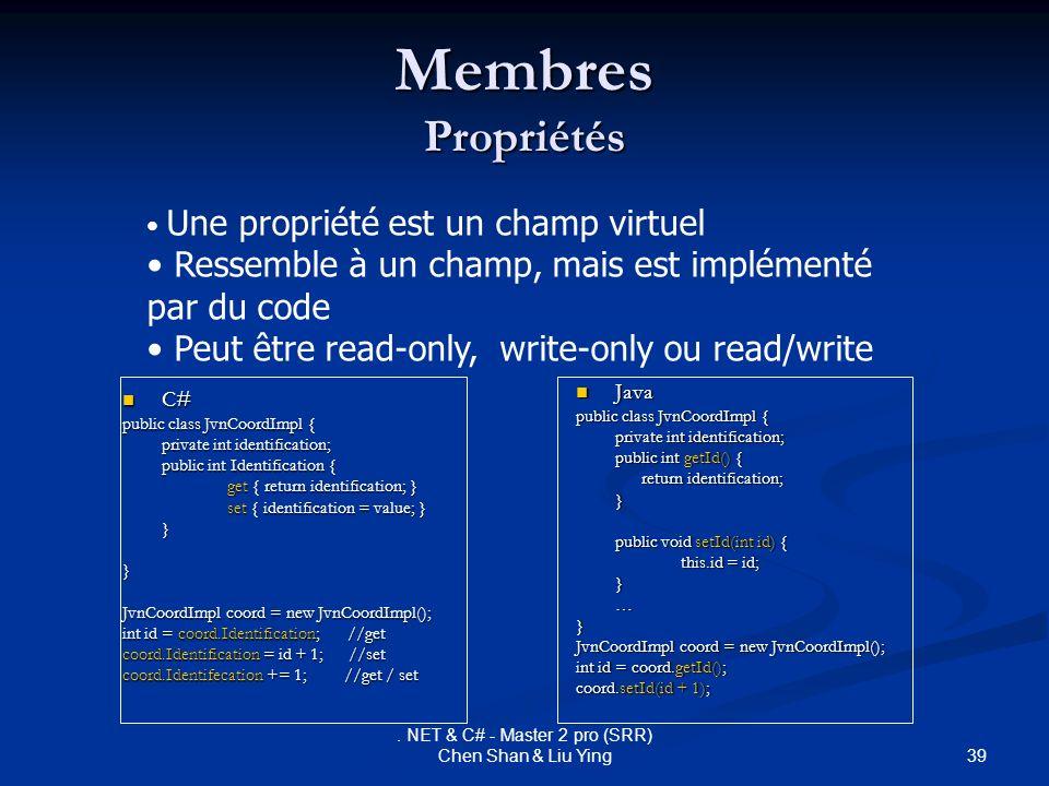 39. NET & C# - Master 2 pro (SRR) Chen Shan & Liu Ying Membres Propriétés C# C# public class JvnCoordImpl { private int identification; public int Ide
