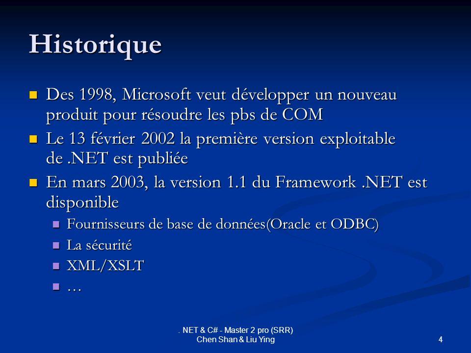 4. NET & C# - Master 2 pro (SRR) Chen Shan & Liu Ying Historique Des 1998, Microsoft veut développer un nouveau produit pour résoudre les pbs de COM D