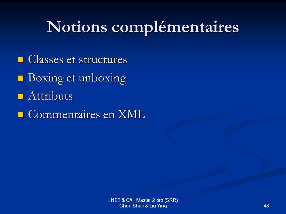 48. NET & C# - Master 2 pro (SRR) Chen Shan & Liu Ying Notions complémentaires Classes et structures Classes et structures Boxing et unboxing Boxing e