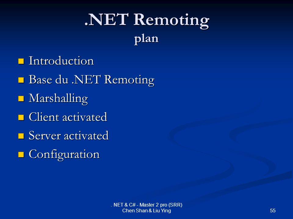 55. NET & C# - Master 2 pro (SRR) Chen Shan & Liu Ying.NET Remoting plan Introduction Introduction Base du.NET Remoting Base du.NET Remoting Marshalli