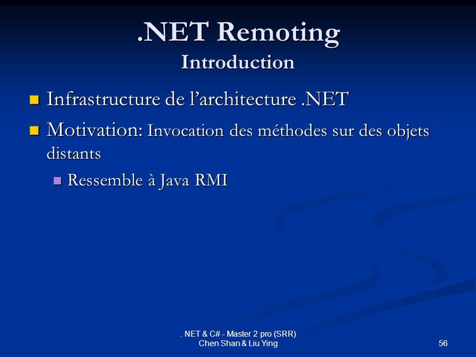 56. NET & C# - Master 2 pro (SRR) Chen Shan & Liu Ying.NET Remoting Introduction Infrastructure de larchitecture.NET Infrastructure de larchitecture.N