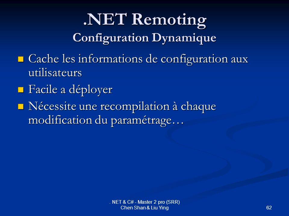 62. NET & C# - Master 2 pro (SRR) Chen Shan & Liu Ying.NET Remoting Configuration Dynamique Cache les informations de configuration aux utilisateurs C