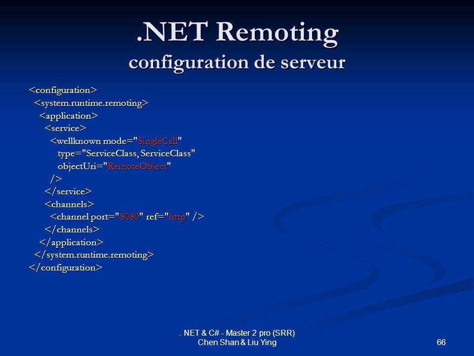 66. NET & C# - Master 2 pro (SRR) Chen Shan & Liu Ying.NET Remoting configuration de serveur <configuration> <wellknown mode=