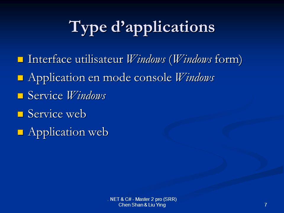 7. NET & C# - Master 2 pro (SRR) Chen Shan & Liu Ying Type dapplications Interface utilisateur Windows (Windows form) Interface utilisateur Windows (W
