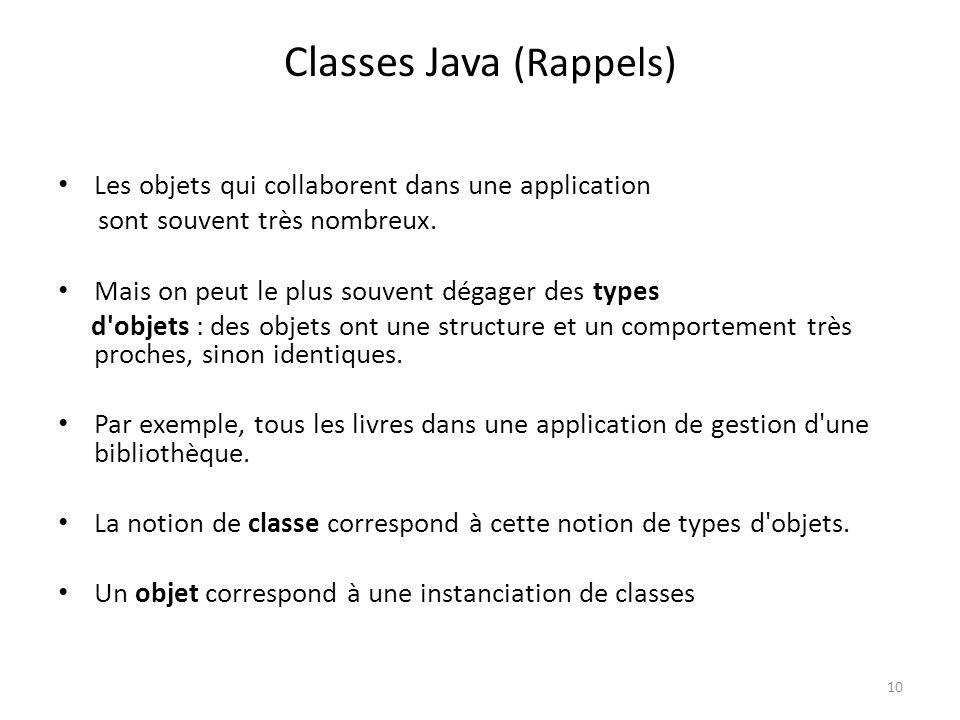 10 Classes Java (Rappels) Les objets qui collaborent dans une application sont souvent très nombreux. Mais on peut le plus souvent dégager des types d