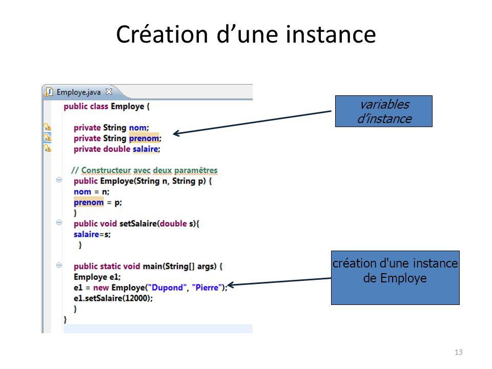 13 Création dune instance variables dinstance création d'une instance de Employe
