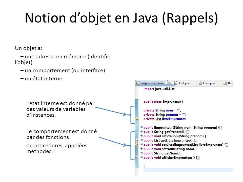 Notion dobjet en Java (Rappels) Létat interne est donné par des valeurs de variables dinstances. Le comportement est donné par des fonctions ou procéd