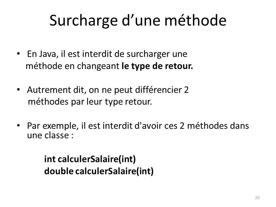 20 Surcharge dune méthode En Java, il est interdit de surcharger une méthode en changeant le type de retour. Autrement dit, on ne peut différencier 2