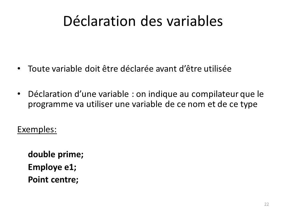 22 Déclaration des variables Toute variable doit être déclarée avant dêtre utilisée Déclaration dune variable : on indique au compilateur que le progr