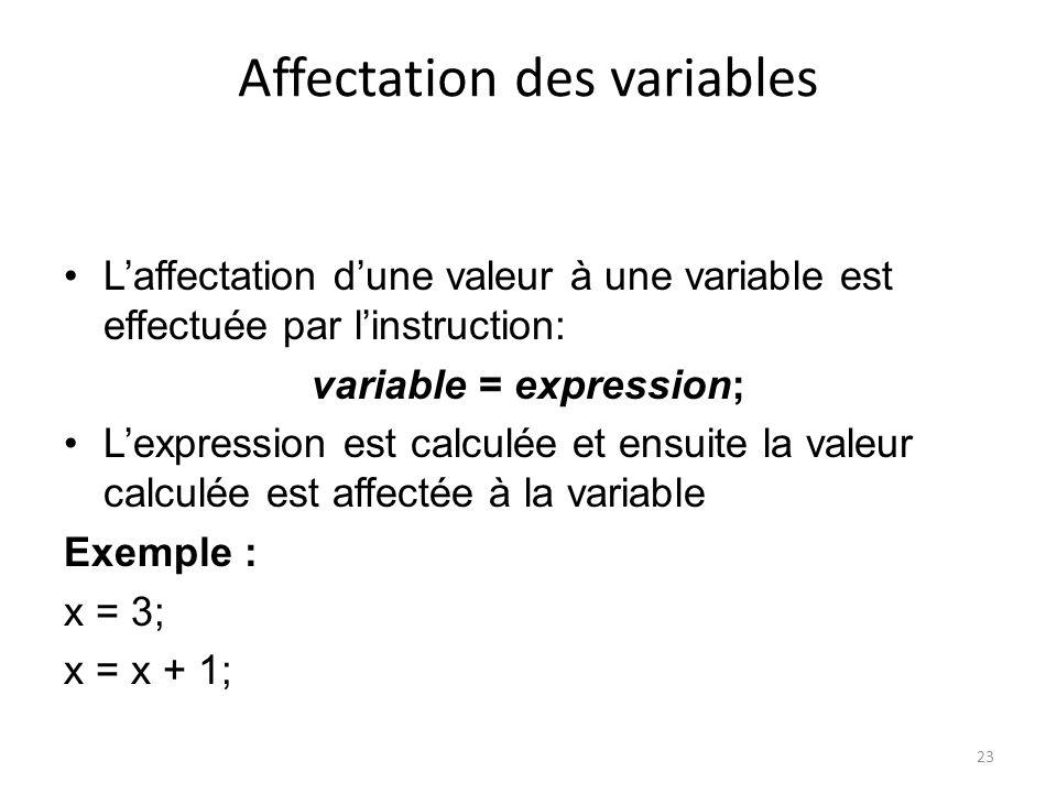 23 Affectation des variables Laffectation dune valeur à une variable est effectuée par linstruction: variable = expression; Lexpression est calculée e