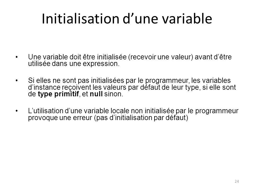 24 Initialisation dune variable Une variable doit être initialisée (recevoir une valeur) avant dêtre utilisée dans une expression. Si elles ne sont pa