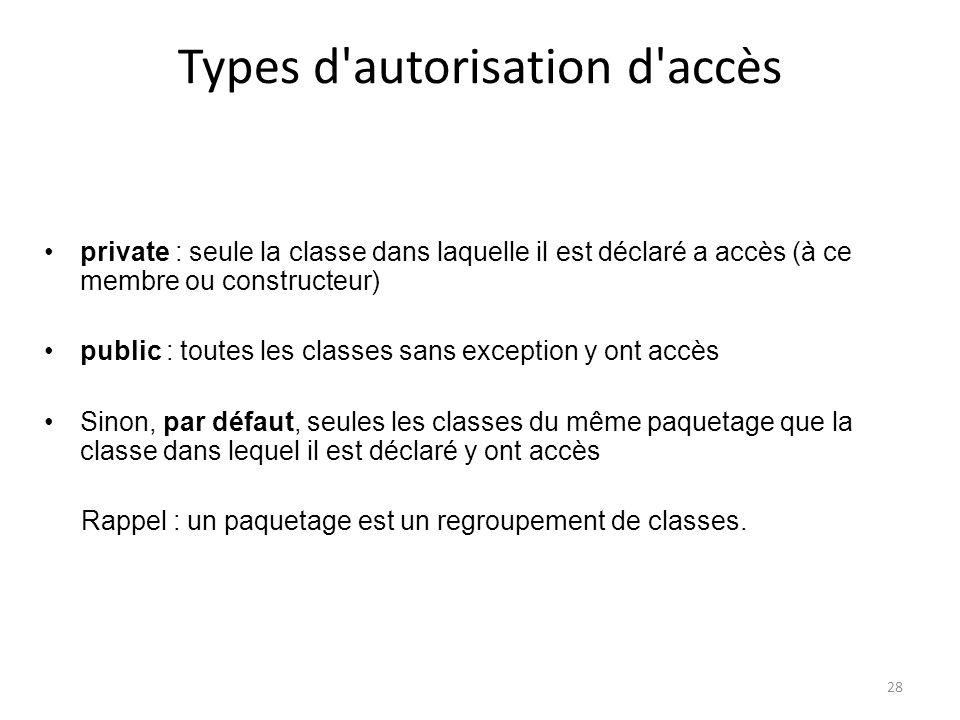 28 Types d'autorisation d'accès private : seule la classe dans laquelle il est déclaré a accès (à ce membre ou constructeur) public : toutes les class