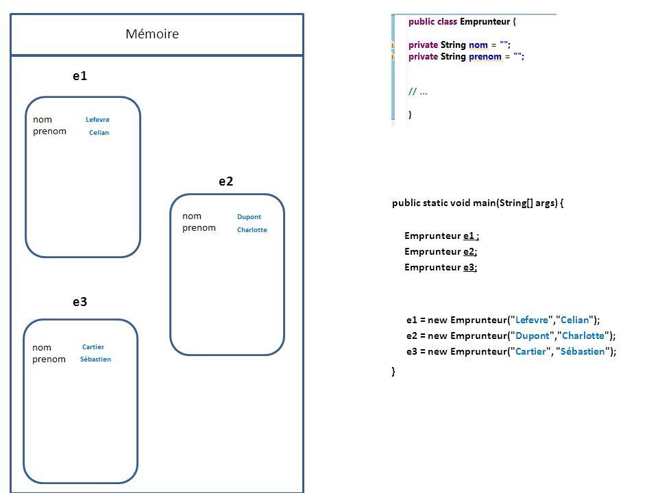 Mémoire e1 e2 public static void main(String[] args) { Emprunteur e1 ; Emprunteur e2; Emprunteur e3; e3 e1 = new Emprunteur(
