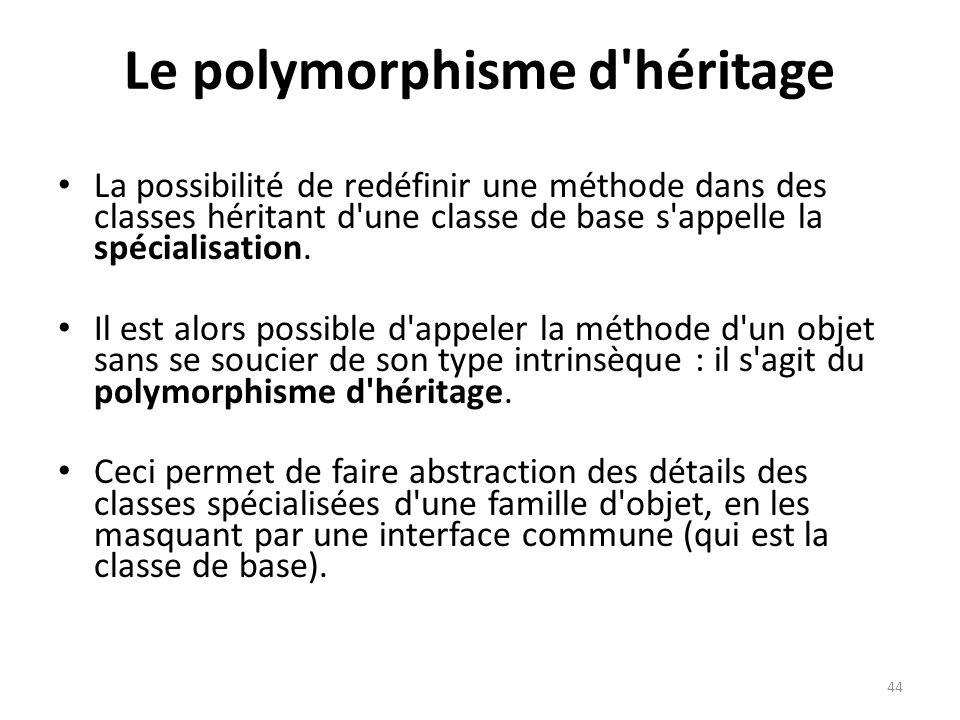 44 Le polymorphisme d'héritage La possibilité de redéfinir une méthode dans des classes héritant d'une classe de base s'appelle la spécialisation. Il
